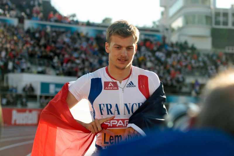 Christophe Lemaitre,  champion d'Europe du 100m