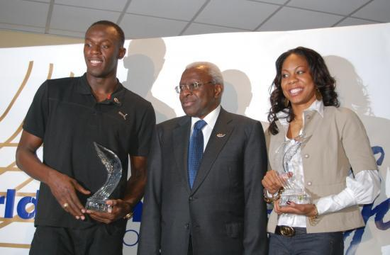 Usain Bolt, Lamine Diack et Sanya Richards